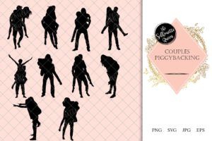 Couples piggybacking Silhouette | Boy Carry Girl Vector | Romantic Lovers Flirting | SVG PNG JPG Clipart Clip art Logo