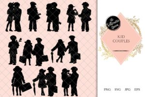 Kid Couple Silhouette | Retro Boy Girl Vector | Kids | SVG PNG JPG Clipart Clip art Logo