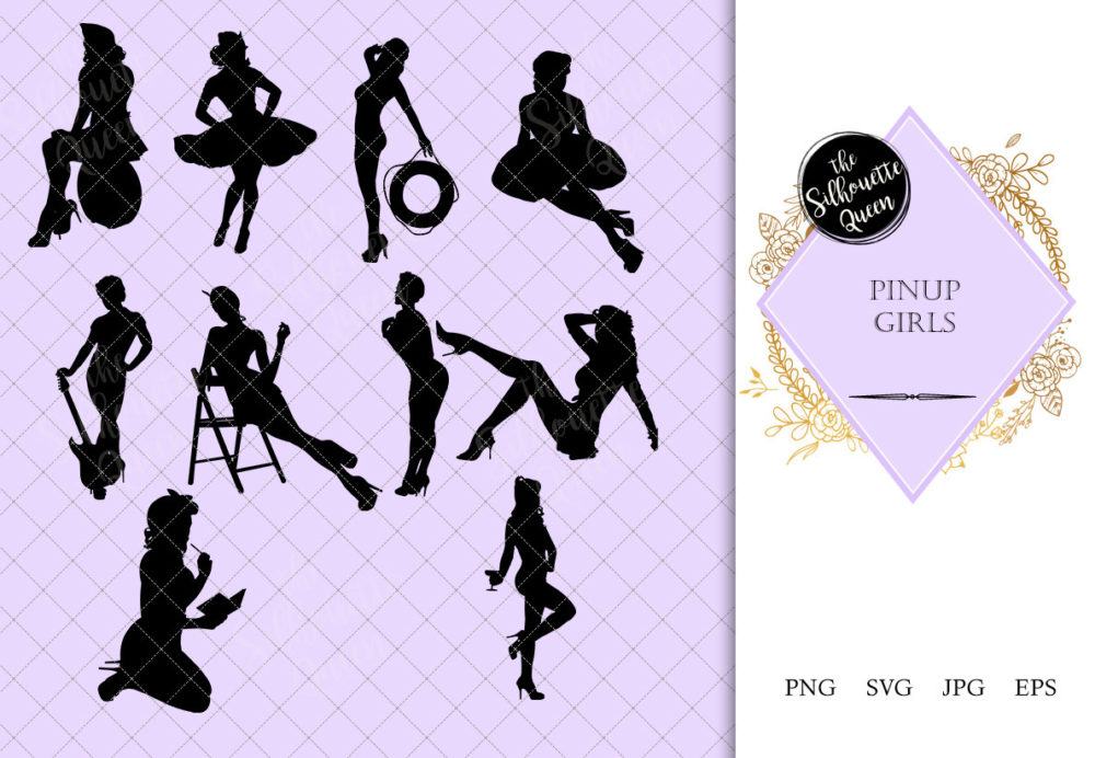 Pinup Girls Silhouette | Sexy Model Vector | Retro attractive Woman| SVG PNG JPG Clipart Clip art Logo