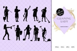 Cleaning Lady Silhouette |Maid Vacuum Vector | Cinderella with Duster | SVG PNG JPG Clipart Clip art Logo