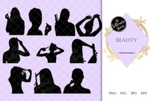Beauty Silhouette | Salon Vector | Hairdresser or Makeup Artist | SVG PNG JPG Clipart Clip art Logo