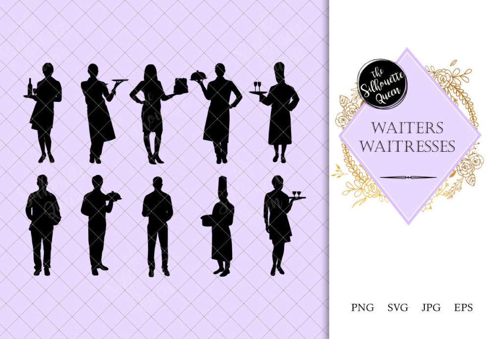 Waiters and Waitress Silhouette |Restaurant Service Vector| Meal Servers | SVG PNG JPG Clipart Clip art Logo
