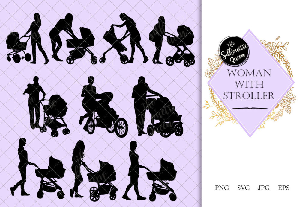 Woman with Stroller Silhouette | Mother with Buggy Vector | Babysitter with Carriage | SVG PNG JPG Clipart Clip art Logo