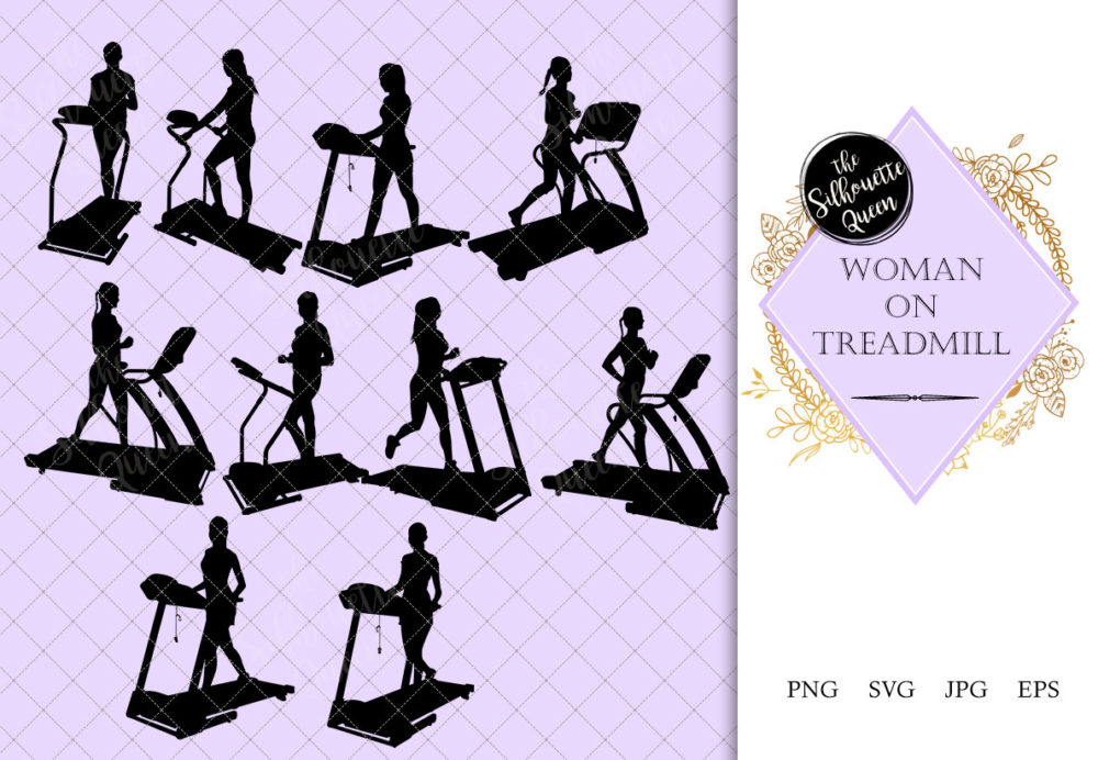 Woman on Treadmill Silhouette | Fitness at Gym Vector | Female Workout | SVG PNG JPG Clipart Clip art Logo