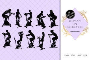 Woman on Exercycle Silhouette | Fitness at Gym Vector | Female Workout | SVG PNG JPG Clipart Clip art Logo