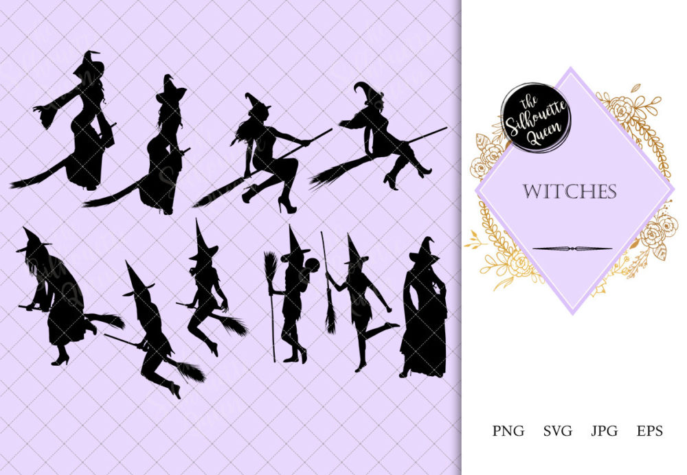 Witch with Broomstick Silhouette | Halloween | Evil Female Vector | SVG PNG JPG Clipart Clip art Logo