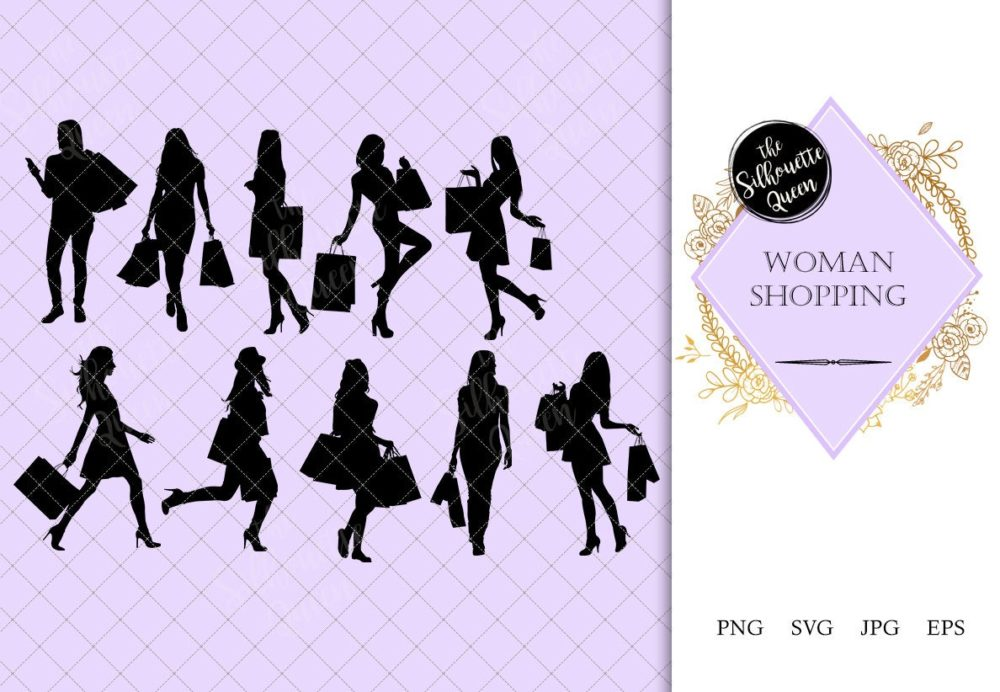 Woman Shopping Silhouette |Woman with Bags Vector | Holiday Sale Discount  | SVG PNG JPG Clipart Clip art Logo