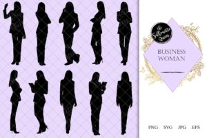 Business Woman Silhouette | Corporate Female in Suit Vector | Professional | SVG PNG JPG Clipart Clip art Logo