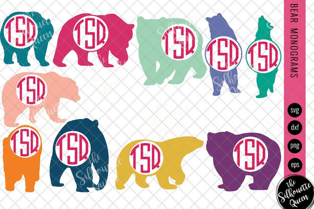 Bear Svg|Monogram Svg|Circle Frames
