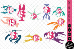 Crayfish Svg|Monogram Svg|Circle Frames