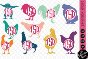 Chicken Svg|Monogram Svg|Circle Frames