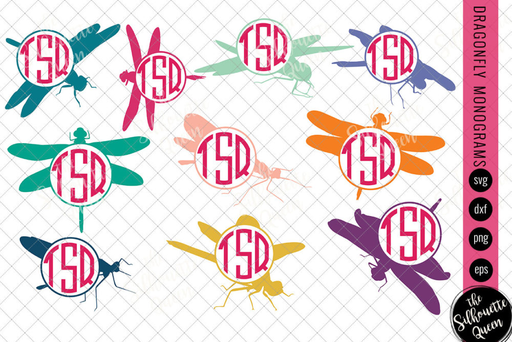 Dragonfly Svg|Monogram Svg|Circle Frames