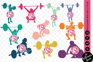 Weightlifting Svg Monogram|Circle Frames|Cuttable Design