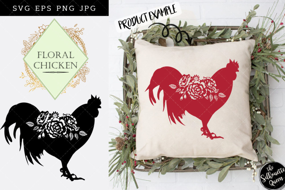 Floral Chicken Bird SVG