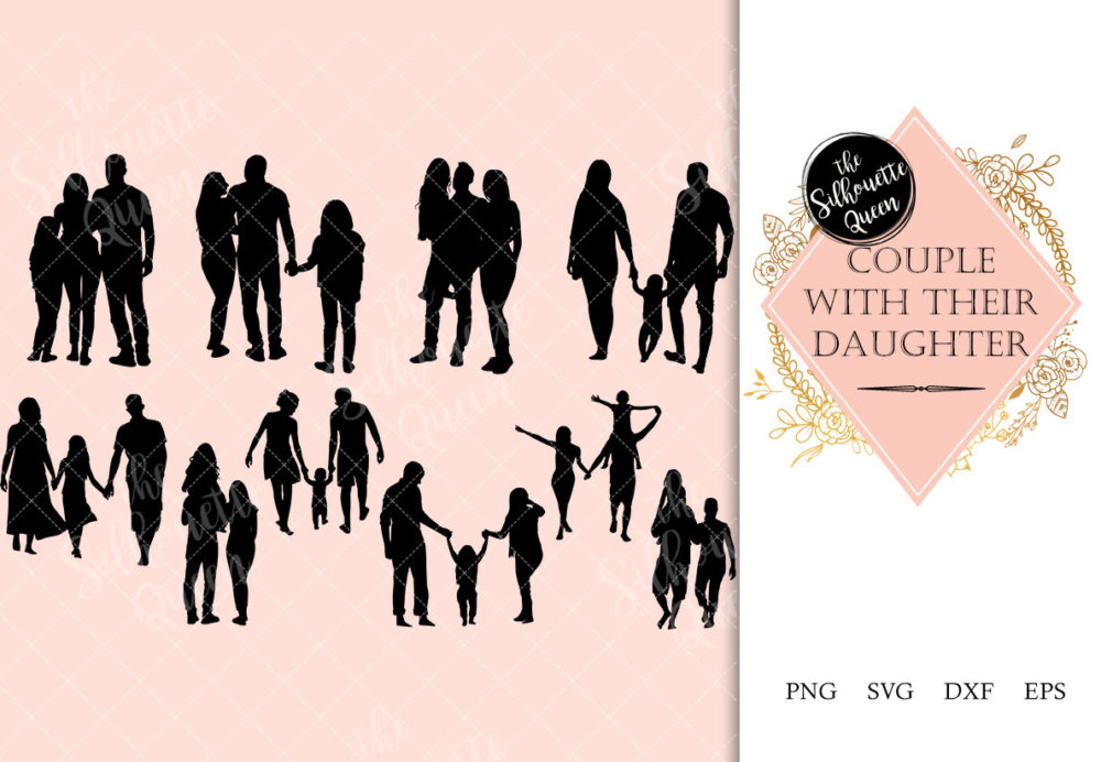 Couple with Daughter svg file