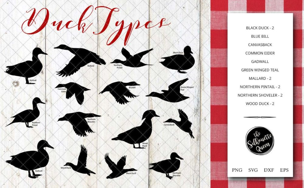 Duck Breeds Silhouette Vector svg file