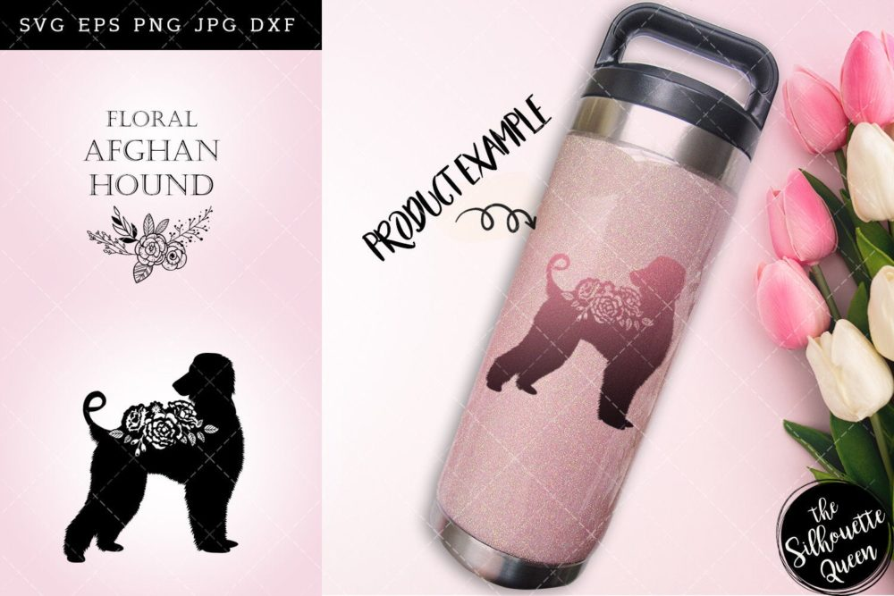 Floral Afghan Hound Dog svg file for cricut