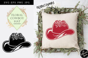 Floral Cowboy Hat SVG File - Cowgirl Hat SVG File - Western SVG
