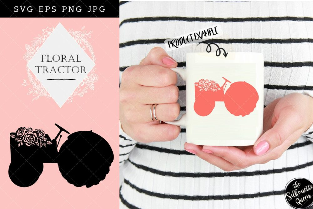 Floral Farm Tractor SVG File Cutting Template-Vector Clip Art - Download-Cricut