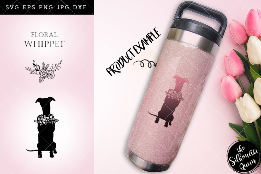 Floral Whippet Dog svg file for cricut