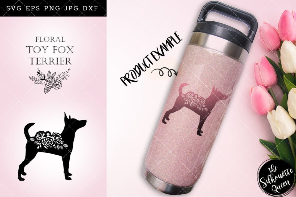 Floral Toy Fox Terrier Dog svg file for cricut