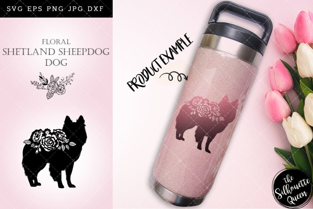 Floral Shetland Sheep Dog svg file for cricut