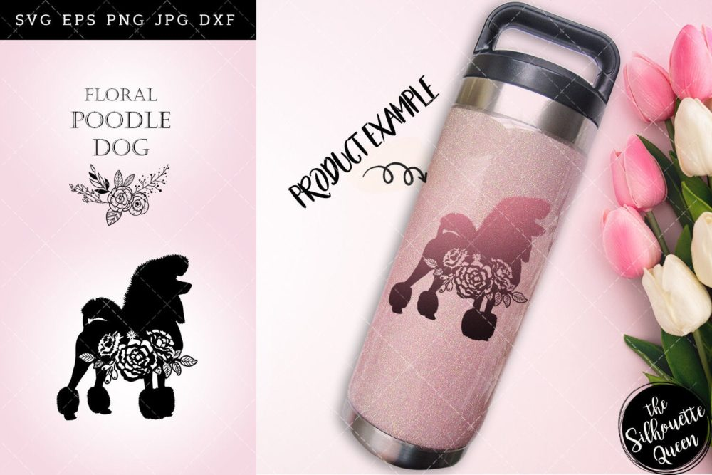 Floral Poodle Dog svg file for cricut