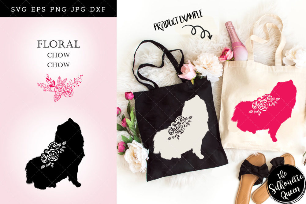 Floral Chow Chow Dog svg file for cricut