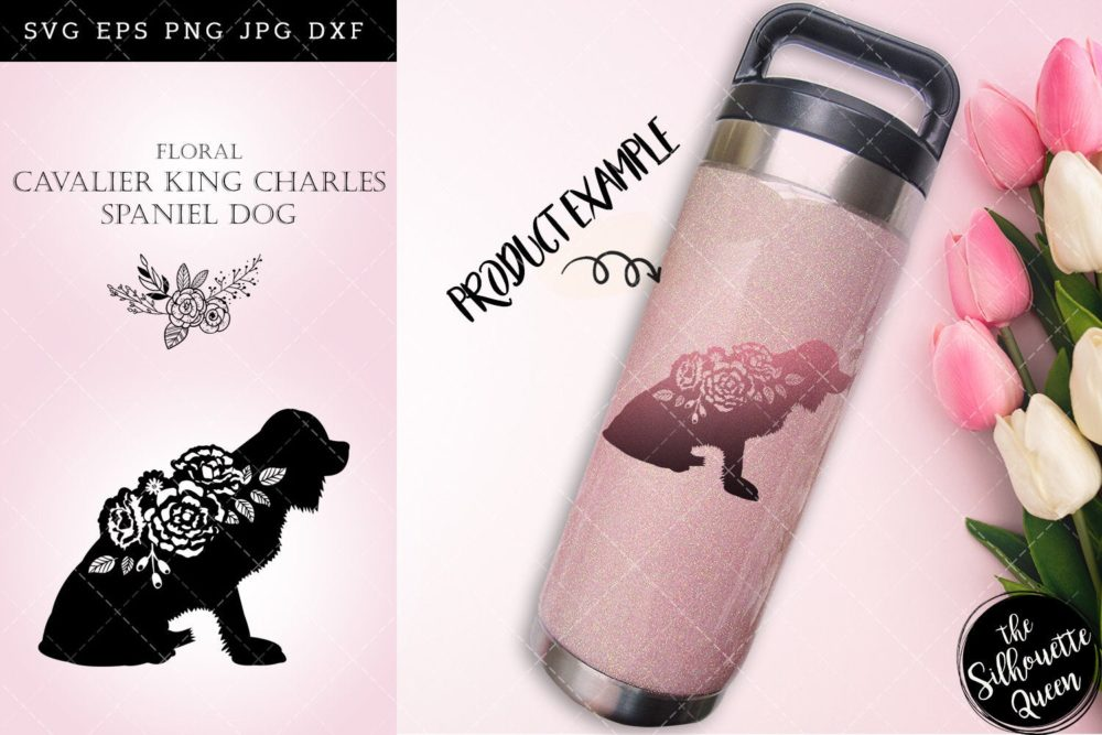 Floral Cavalier King Charles Spaniel Dog svg file for cricut