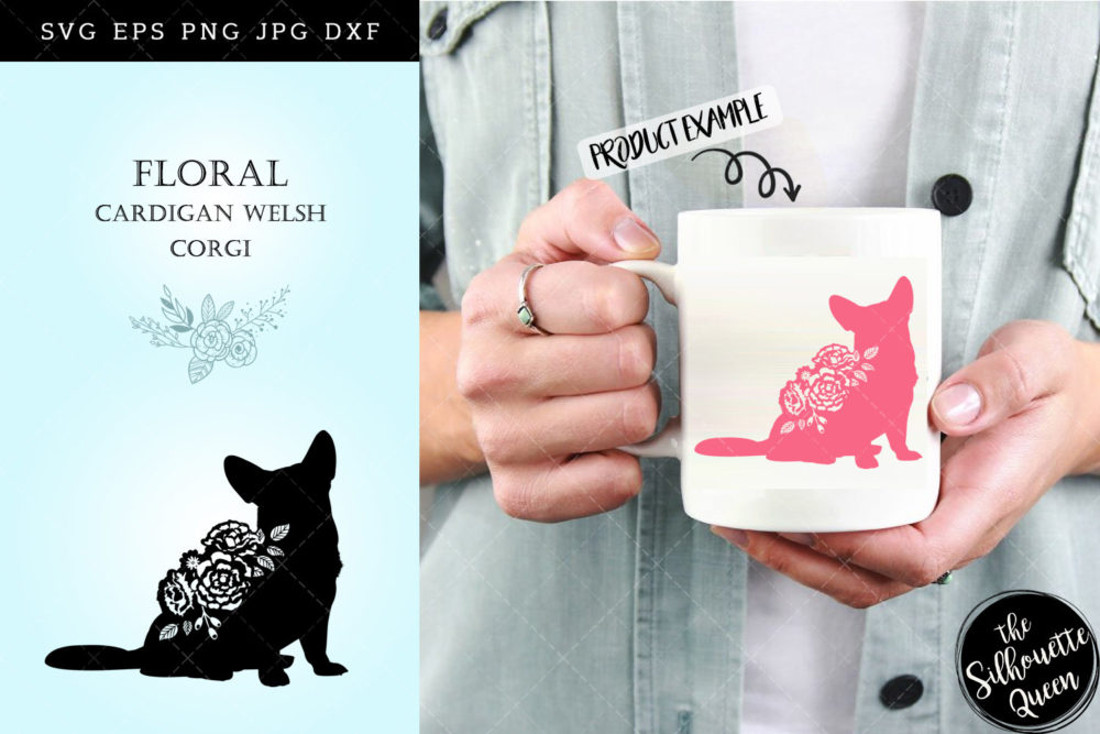 Floral Cardigan Welsh Corgi Dog svg file for cricut