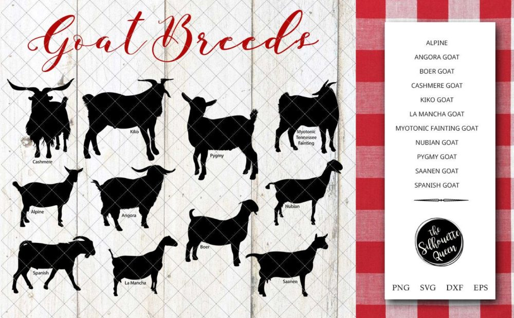 Goat Breeds Silhouette Vector svg file