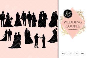 Wedding Couple Silhouette Vector svg file
