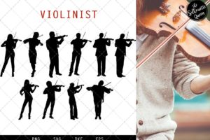 Violinist Silhouette Vector svg file