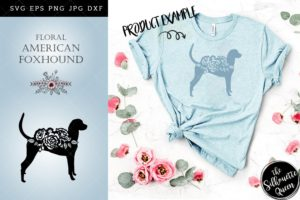 Floral American Foxhound Dog svg file for cricut