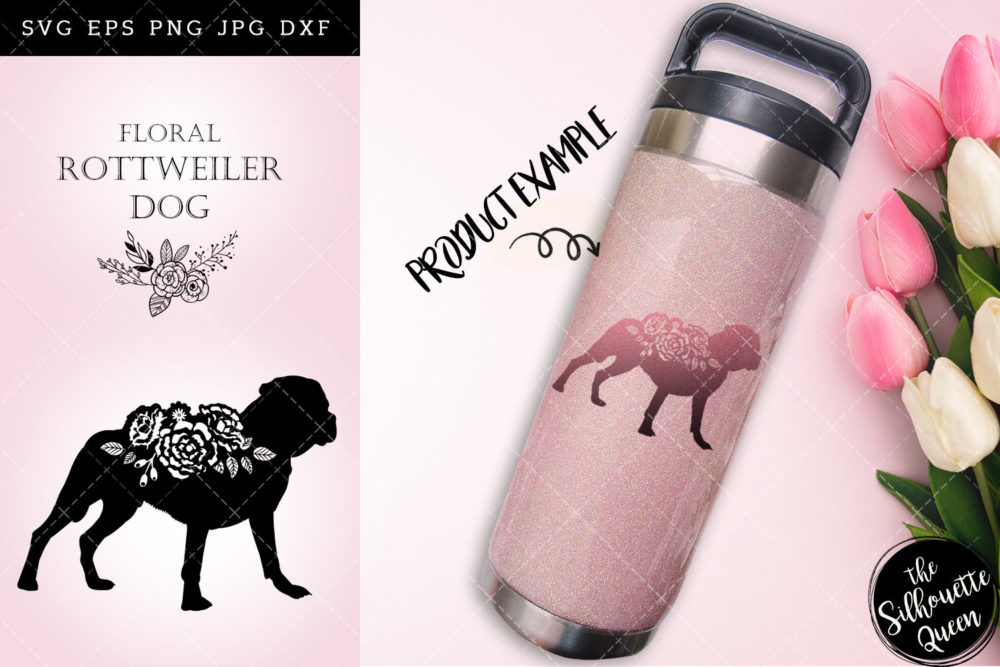 Floral Rottweiler Dog svg file for cricut