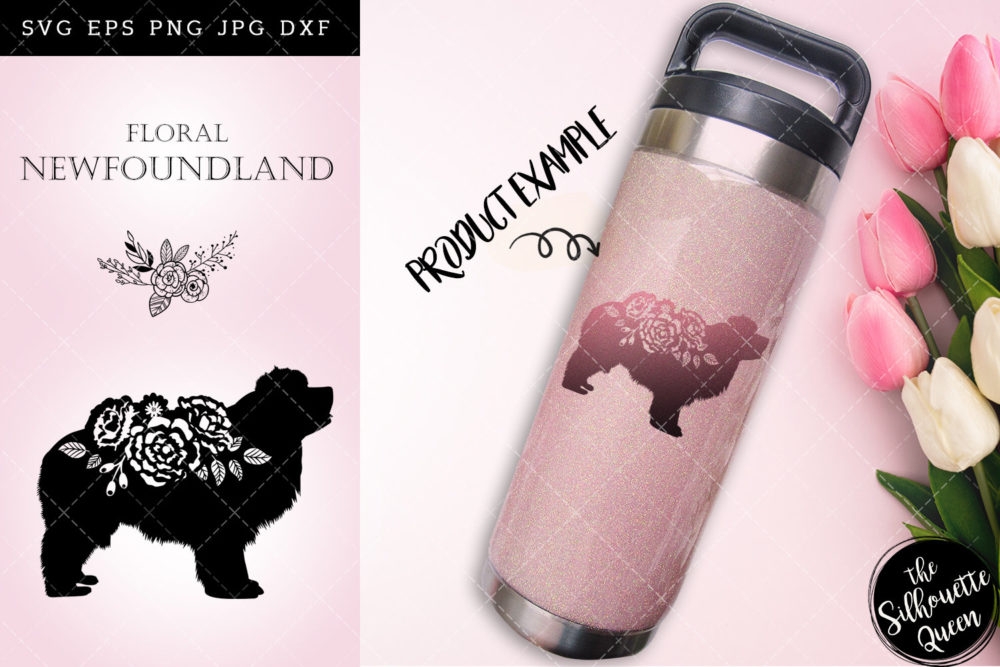 Floral Newfoundland Dog svg file for cricut