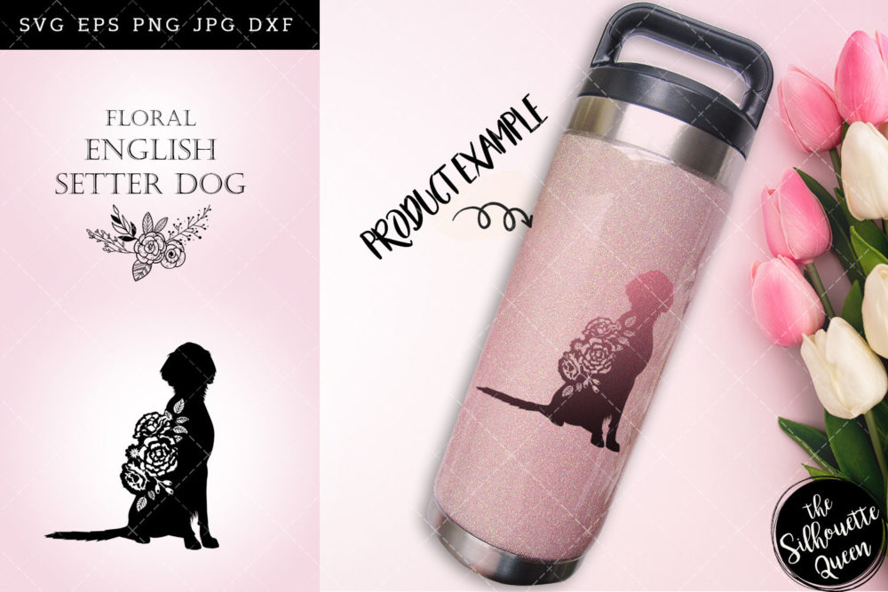 Floral English Setter Dog svg file for cricut