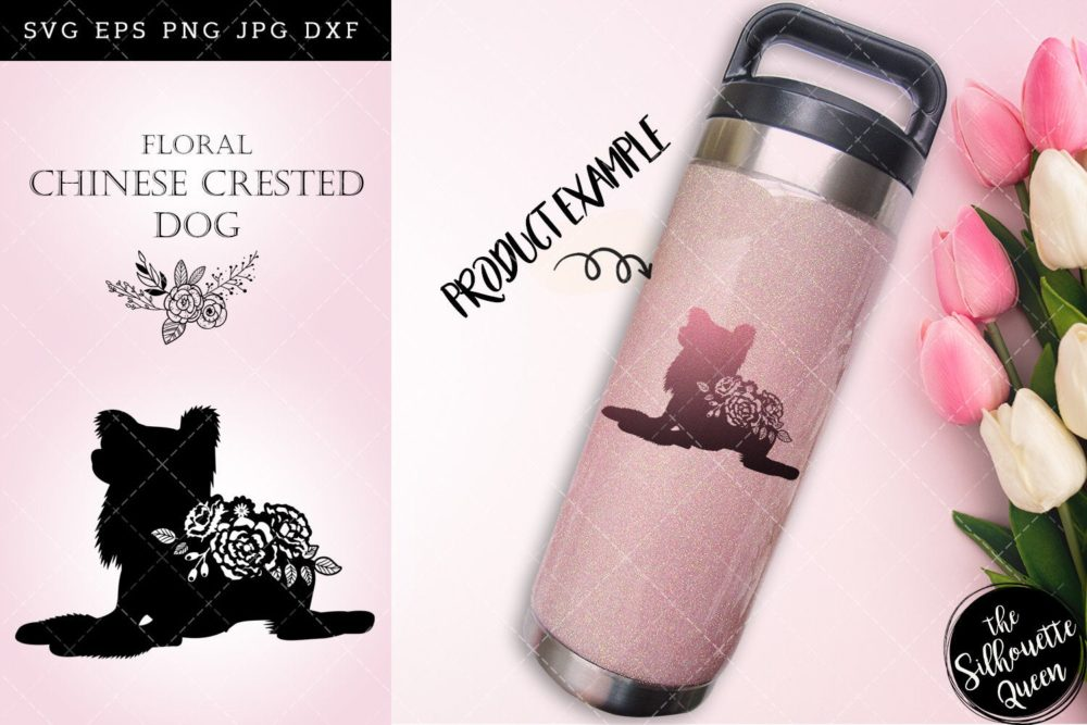 Floral Chinese Crested Dog svg file for cricut