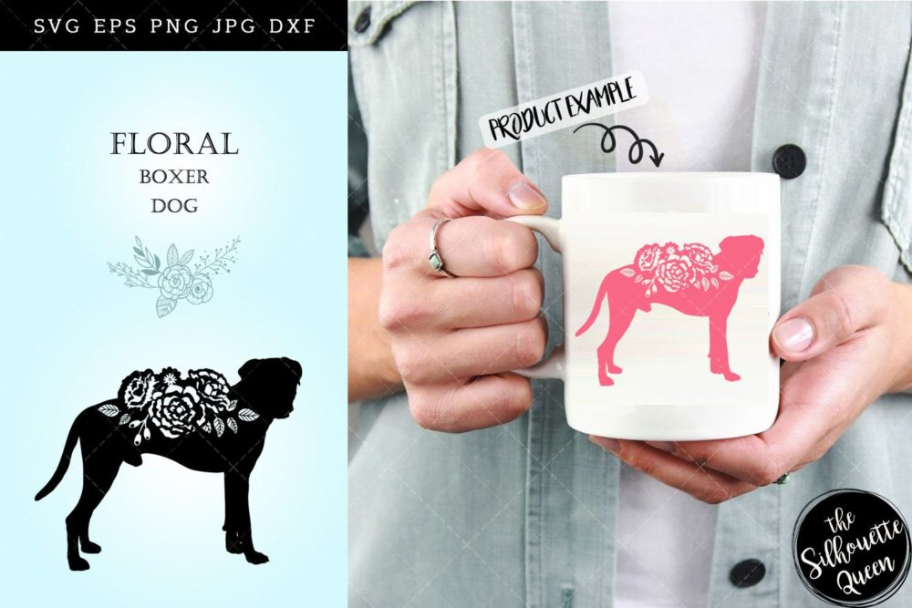 Floral Boxer Dog svg file for cricut