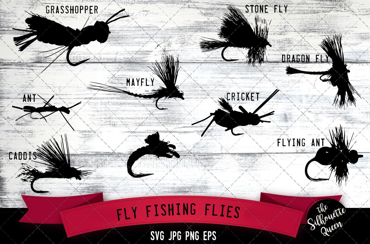 Download Fly Fishing Flies Svg Cricut Files Silhouette Studio Vector Design Cut File Scan N Cut Eps File Dxf Png The Silhouette Queen