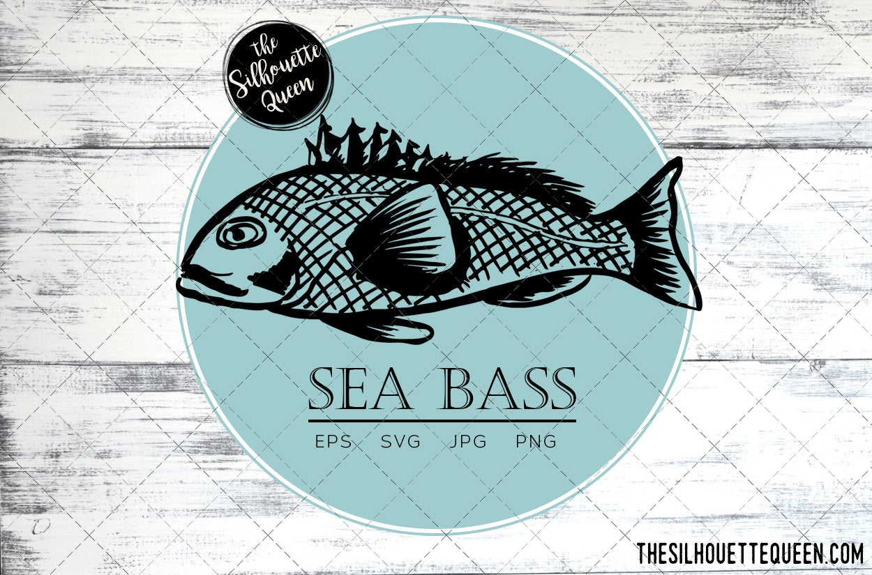 Download Sea Bass Fish Svg Design Files Hand Drawn Fishing Vector Clipart Cricut Silhouette Cameo Png Eps The Silhouette Queen