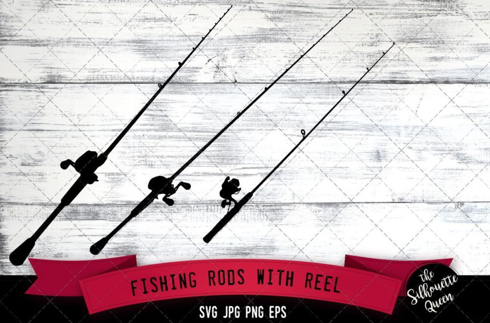 Fishing Rods with Reel Svg