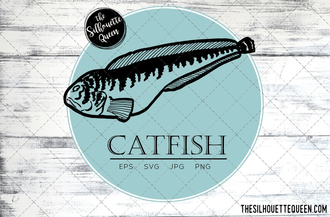 Download Catfish Fish Svg Design Files Hand Drawn Fishing Vector Clipart Cricut Silhouette Cameo Png Eps The Silhouette Queen