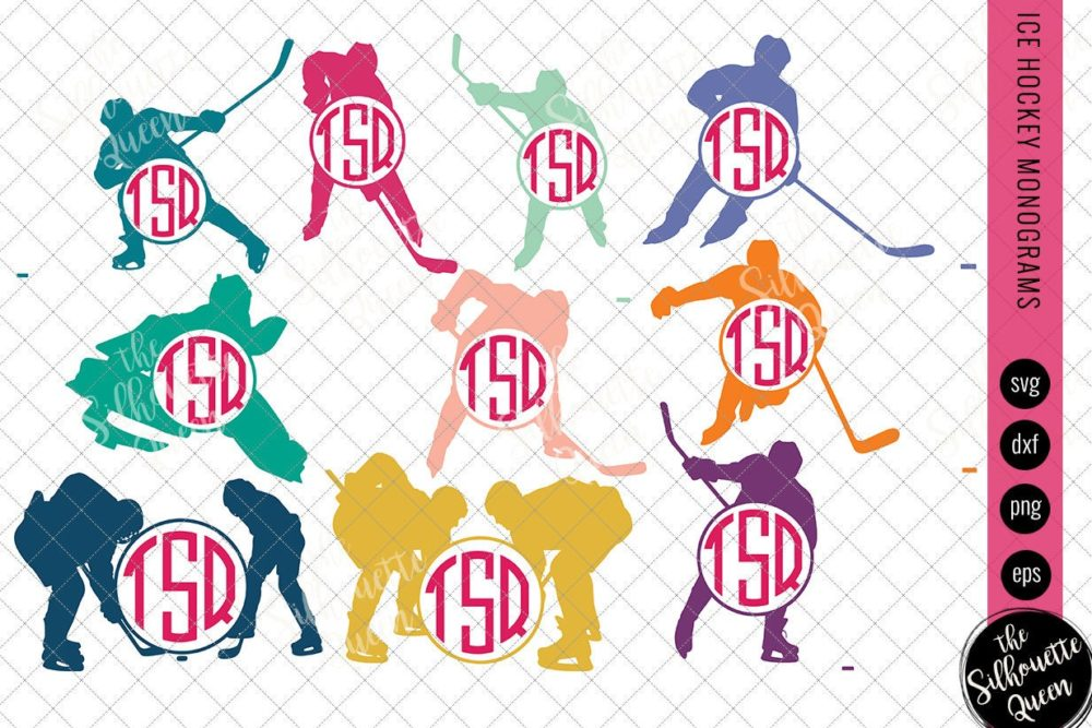 Ice Hockey Svg Monogram