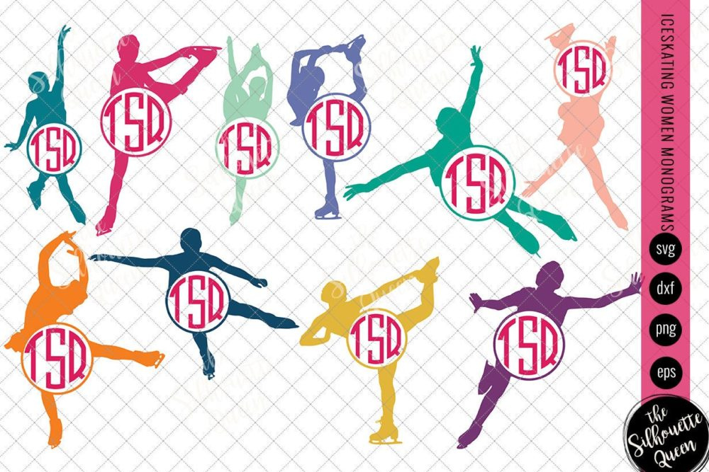 Ice Skating Women Svg Monogram