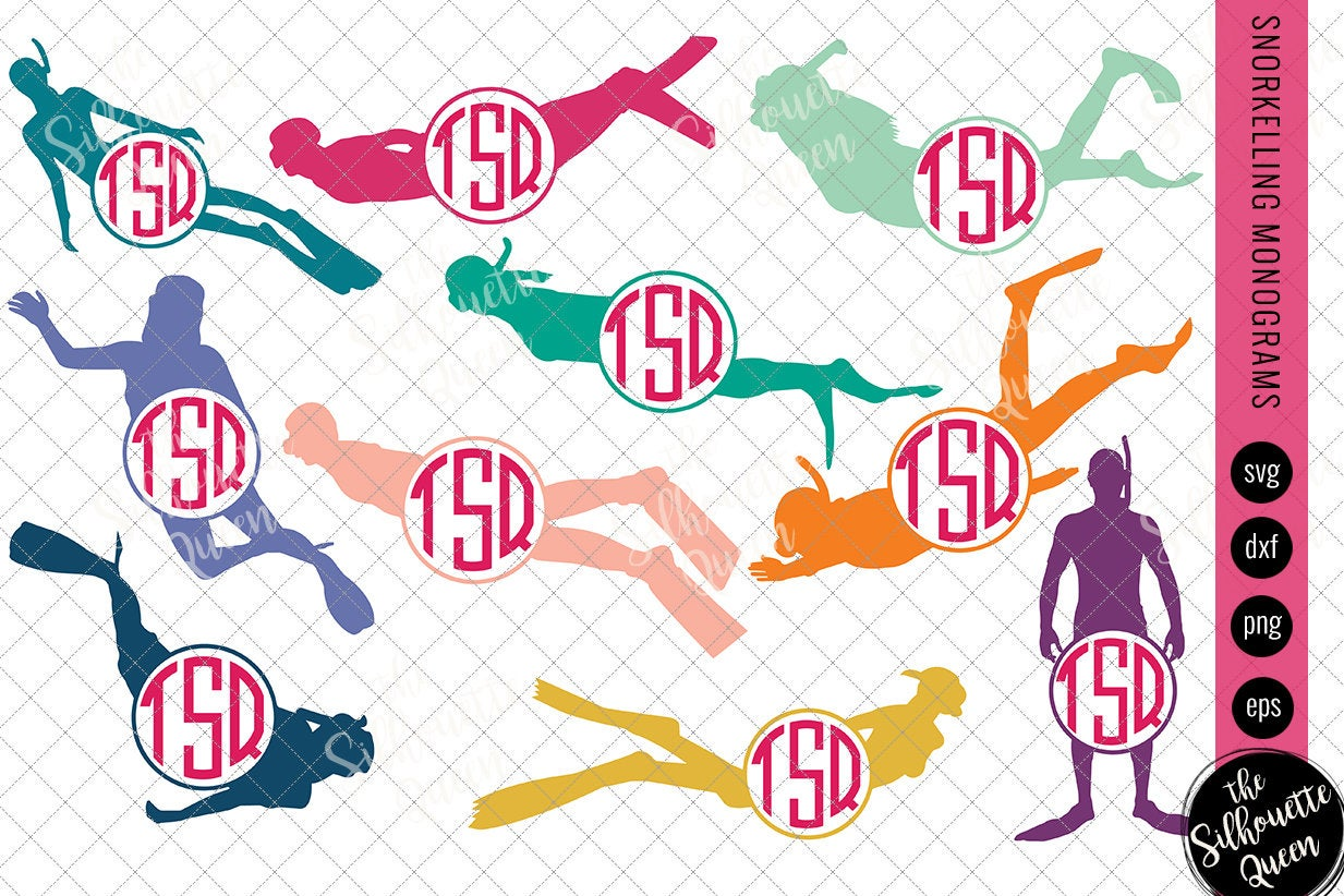 Snorkelling Svg Monogram Circle Frames Cuttable Design Cut Files Silhouette Studio Files Cricut Files Vector Svg Dxf Eps Png The Silhouette Queen