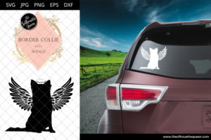 Border Collie #9 with Wings SVG