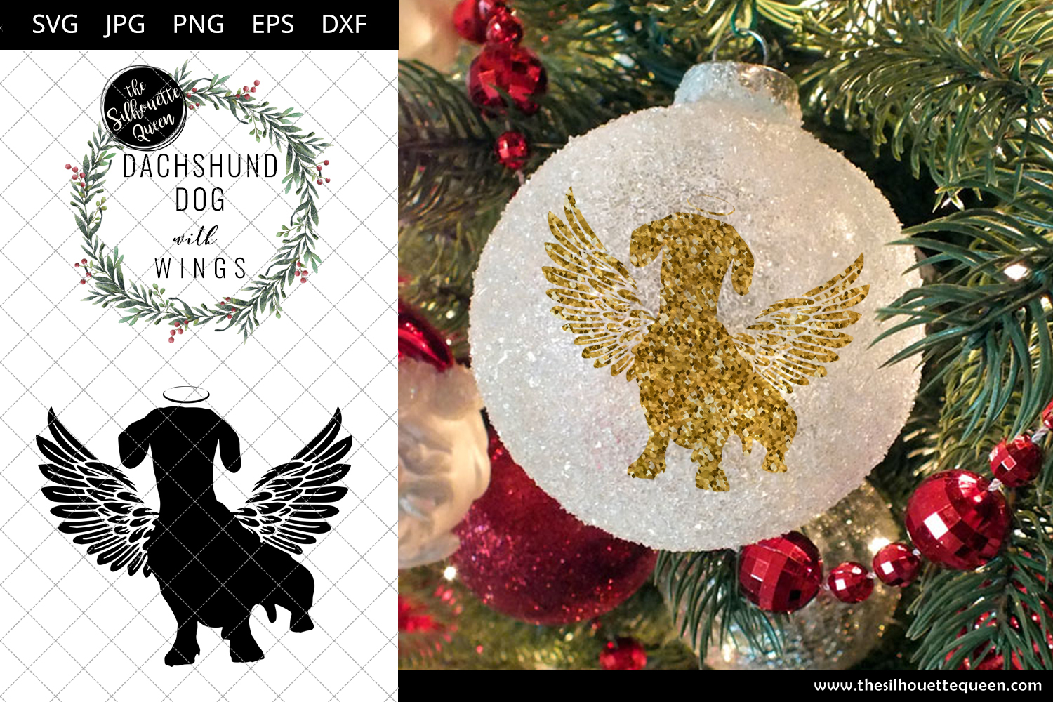 Dachshund Dog 1 With Wings Svg Pet Memorial Rip Angel In Loving Memory Animal Lover Vector For Cricut Silhouette Studio Scan And Cut Files The Silhouette Queen