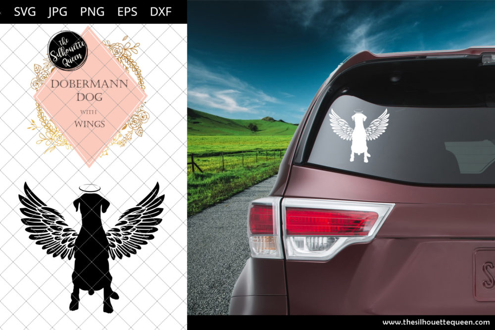 Dobermann Dog #2 with Wings SVG