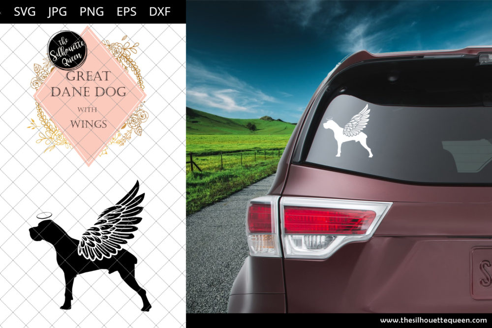 Great Dane Dog #9 with Wings SVG